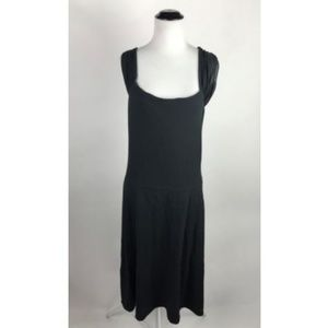 Three Dots Black Ruched Stretch Cap Sleeve Dress